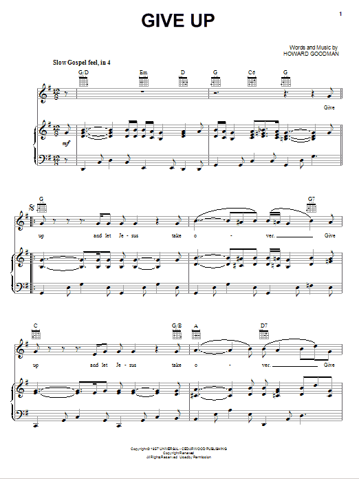 Give Up Sheet Music