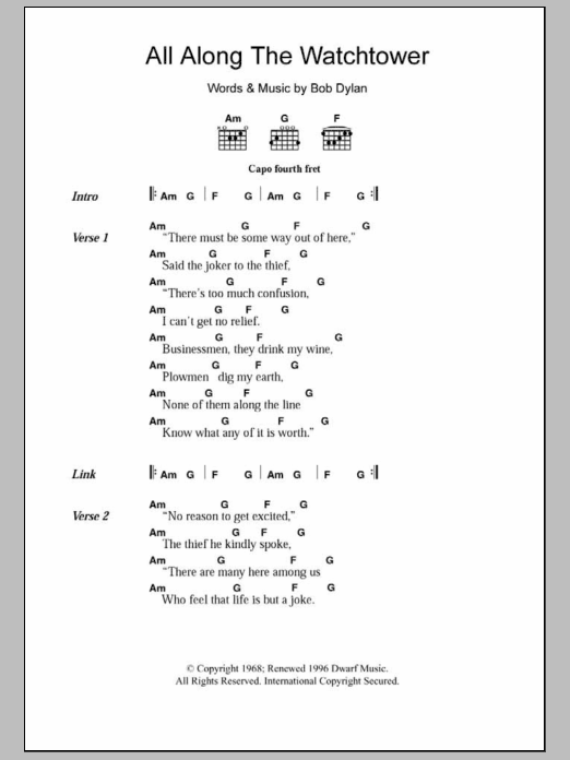 All Along The Watchtower by Bob Dylan - Guitar Chords/Lyrics ...
