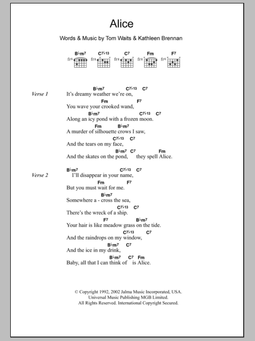 Alice Sheet Music | Tom Waits | Lyrics & Chords