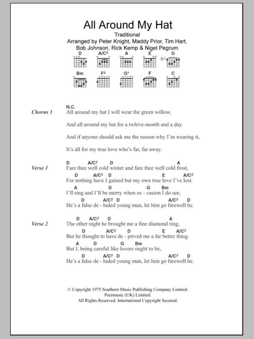All Around My Hat by Steeleye Span - Guitar Chords/Lyrics - Guitar ...