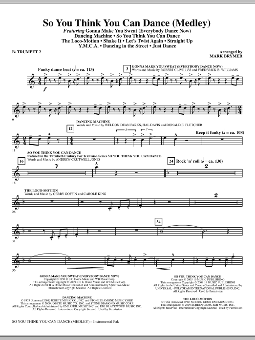 So You Think You Can Dance (Medley) - Bb Trumpet 2 (Choir Instrumental Pak)