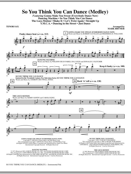 So You Think You Can Dance (Medley) - Tenor Sax (Choir Instrumental Pak)