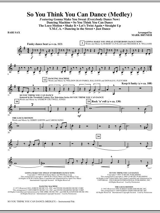 So You Think You Can Dance (Medley) - Baritone Sax (Choir Instrumental Pak)