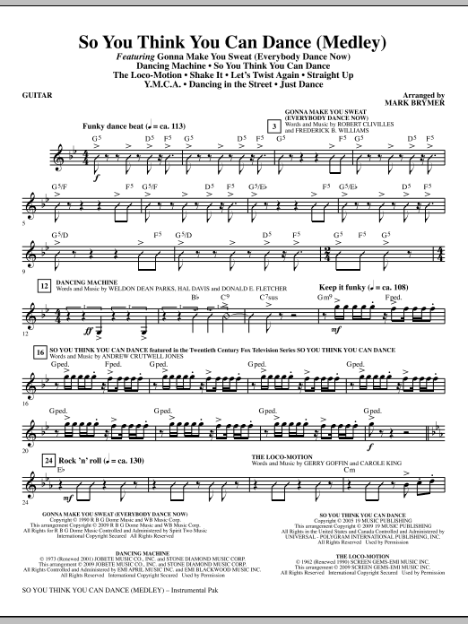 So You Think You Can Dance (Medley) - Guitar (Choir Instrumental Pak)