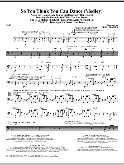 So You Think You Can Dance (Medley) - Bass (Choir Instrumental Pak)
