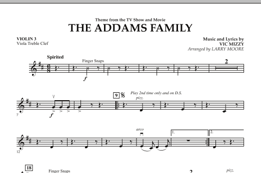 The Addams Family - Violin 3 (Viola Treble Clef) (Orchestra)