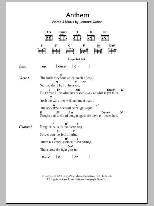 Anthem Sheet Music
