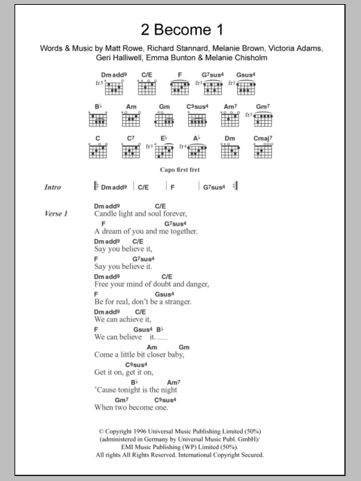 2 Become 1 (Guitar Chords/Lyrics)