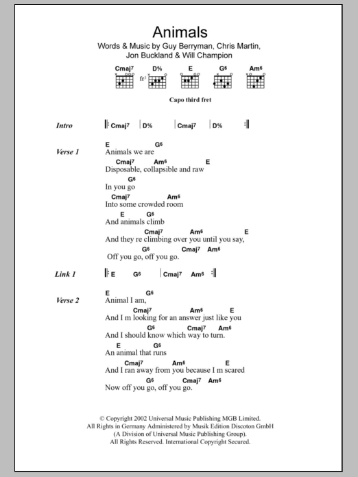 Animals by Coldplay - Guitar Chords/Lyrics - Guitar Instructor