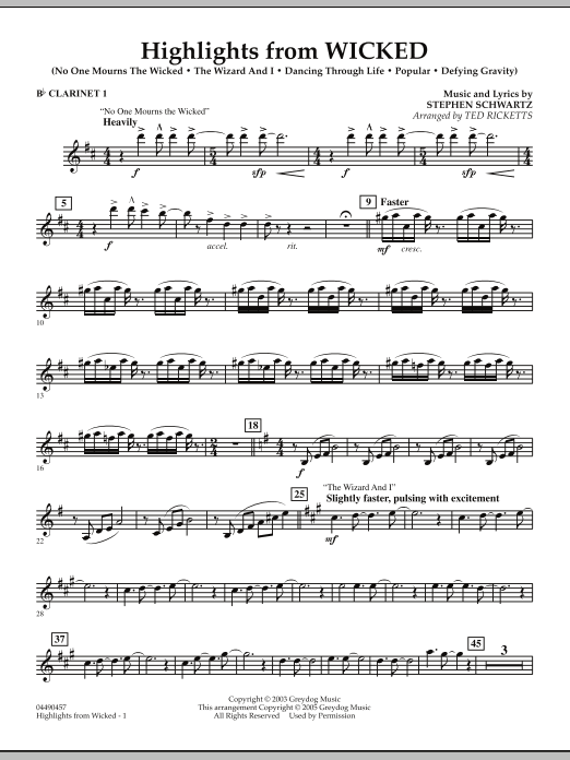 Highlights from Wicked - Bb Clarinet 1 (Full Orchestra)