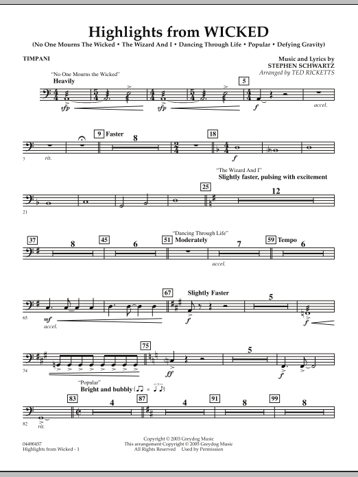 Highlights from Wicked - Timpani (Full Orchestra)