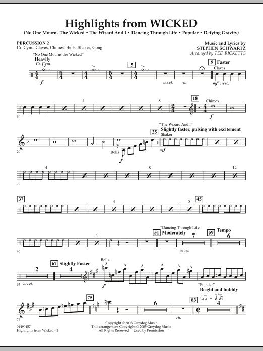 Highlights from Wicked - Percussion 2 (Full Orchestra)
