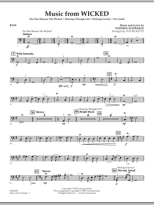Music from Wicked - String Bass (Orchestra)