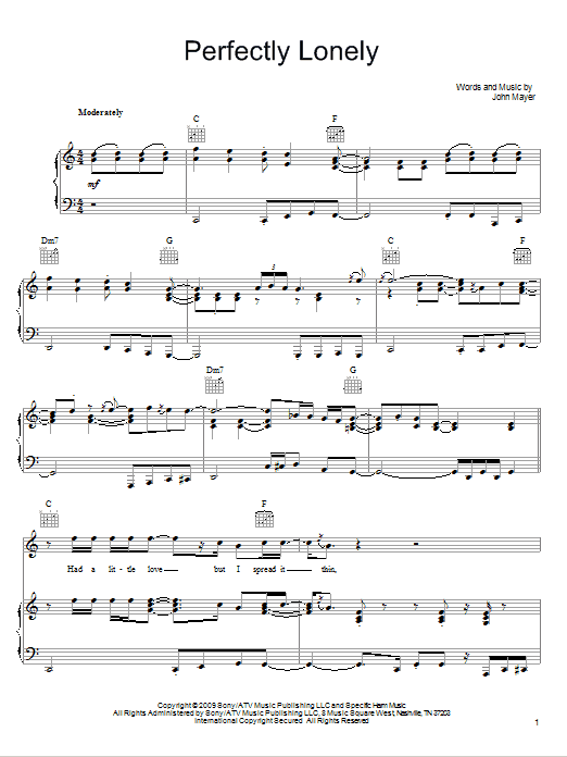 Partition piano Perfectly Lonely de John Mayer - Piano Voix Guitare (Mélodie Main Droite)