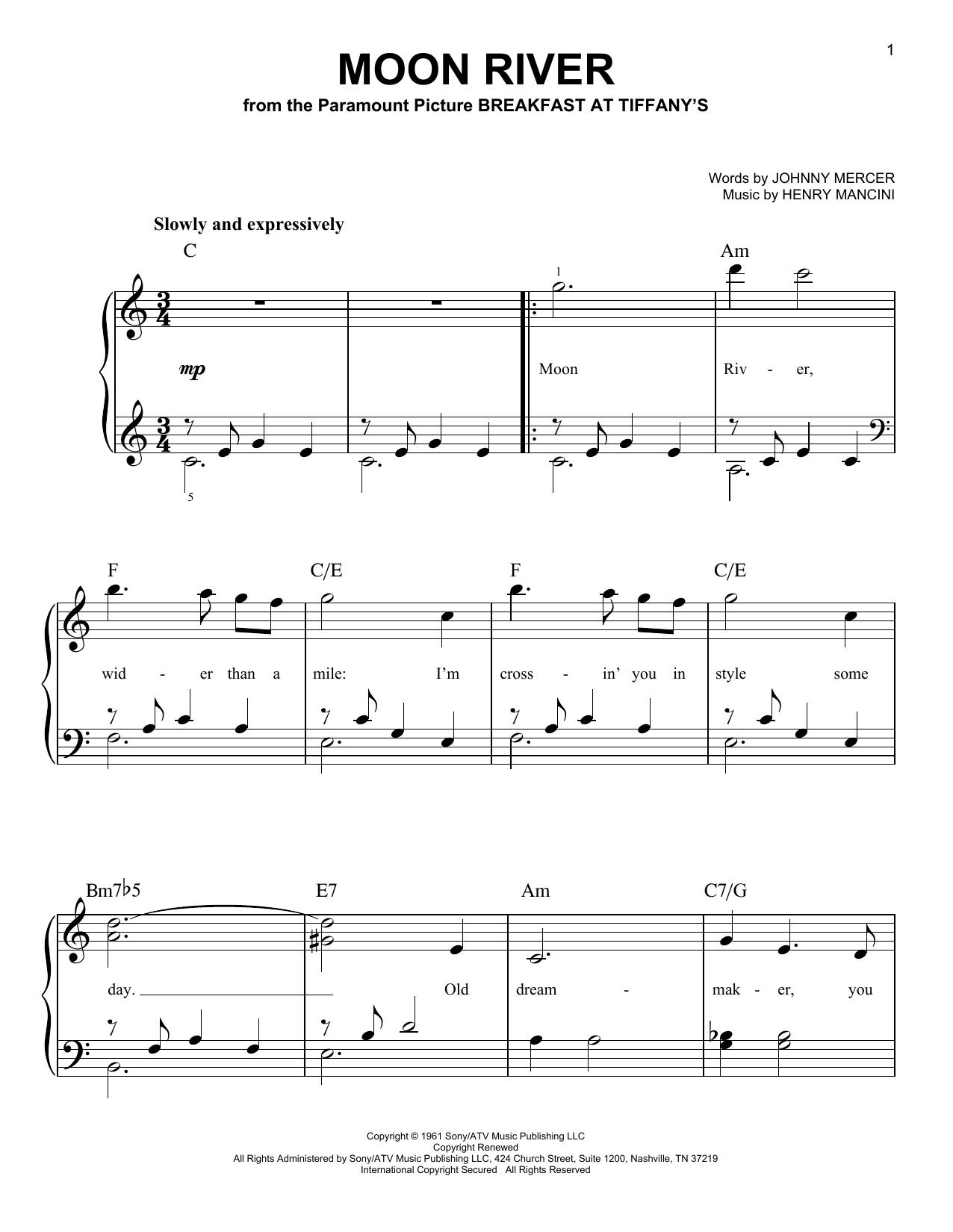 Partition piano Moon River de Henry Mancini - Piano Facile