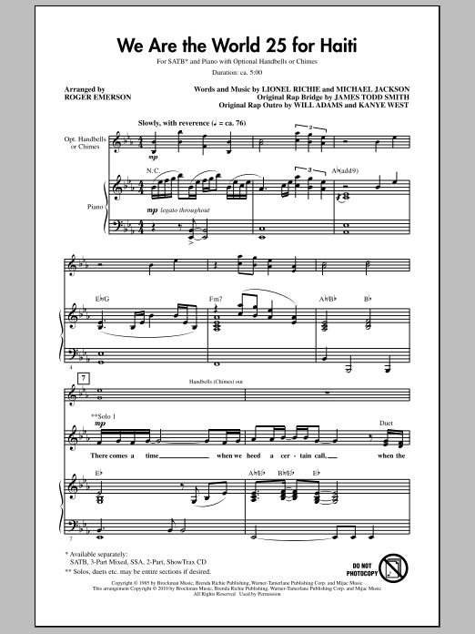 Partition chorale We Are The World 25 For Haiti de Roger Emerson - SATB