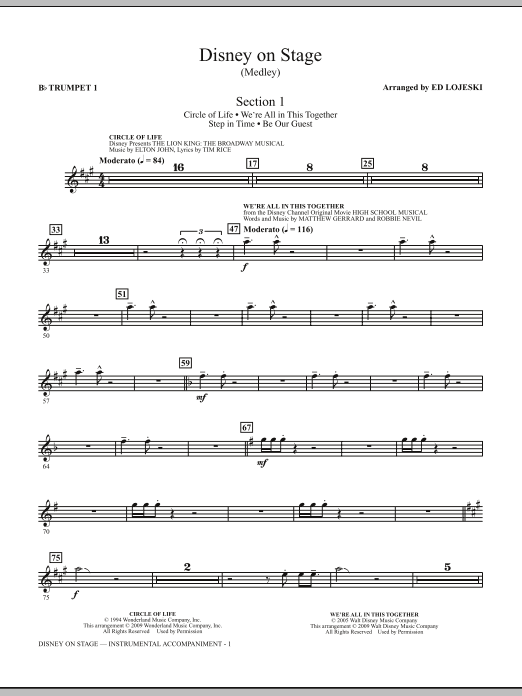 Disney On Stage (Medley) (complete set of parts) sheet music for orchestra/band (chamber ensemble) by Ed Lojeski. Score Image Preview.