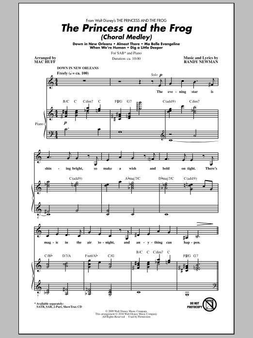 The Princess And The Frog (Choral Medley) Sheet Music