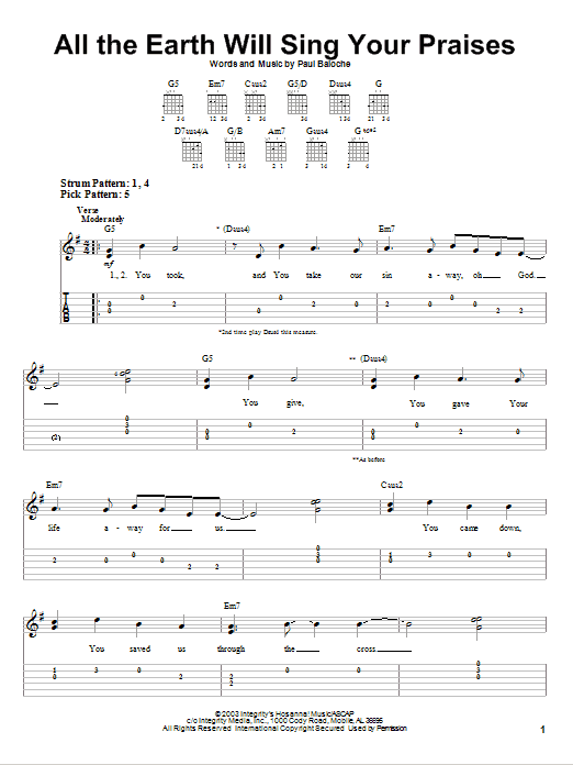 All The Earth Will Sing Your Praises (Easy Guitar Tab)