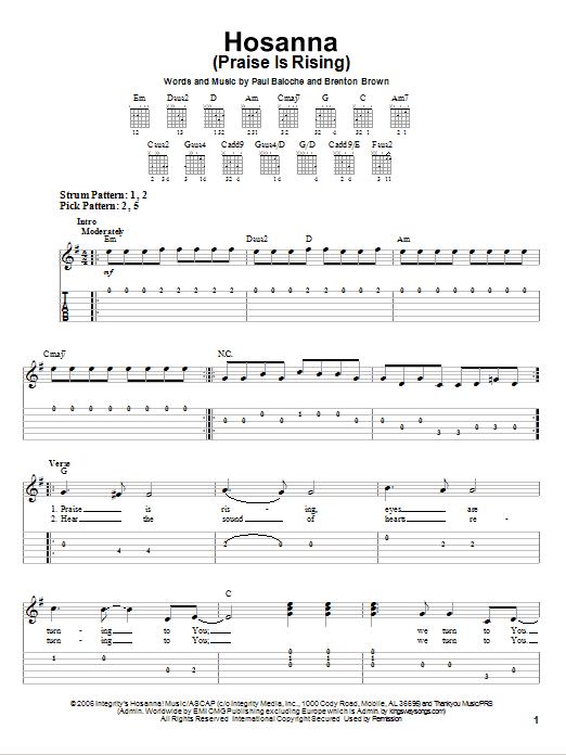Hosanna (Praise Is Rising) (Easy Guitar Tab)