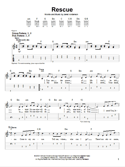 Rescue (Easy Guitar Tab)