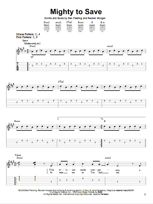 Mighty To Save by Reuben Morgan - Easy Guitar Tab - Guitar Instructor
