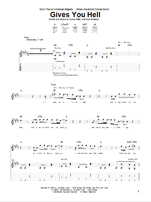 Tablature guitare Gives You Hell de The All-American Rejects - Tablature Guitare