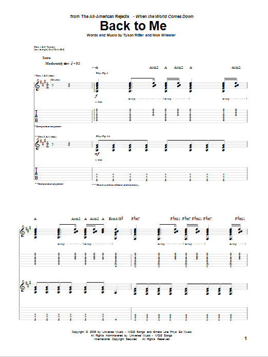 Tablature guitare Back To Me de The All-American Rejects - Tablature Guitare