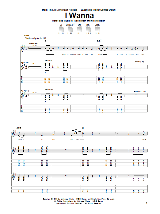 Tablature guitare I Wanna de The All-American Rejects - Tablature Guitare