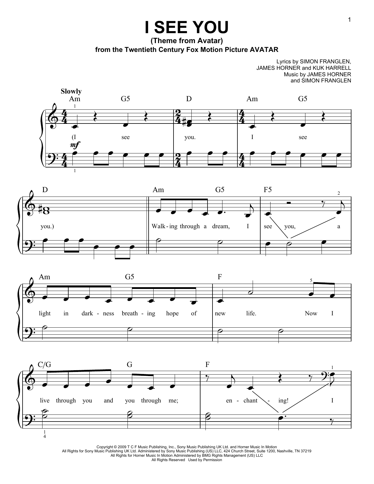 I See You (Theme From Avatar) Sheet Music