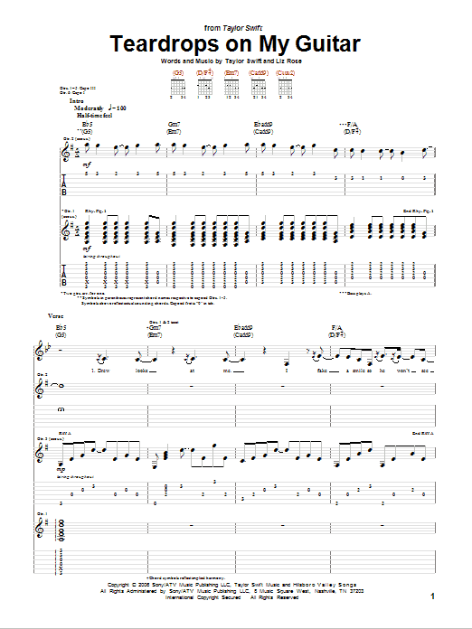Teardrops On My Guitar (Guitar Tab)
