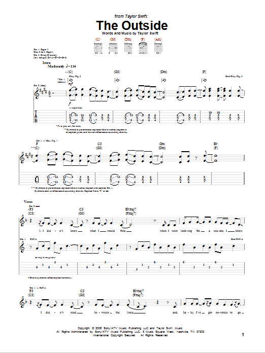 Tablature guitare The Outside de Taylor Swift - Tablature Guitare