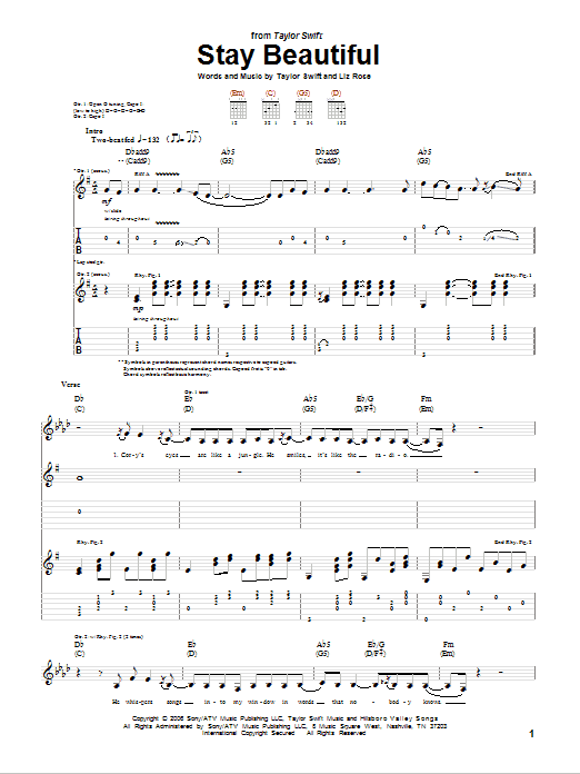 Tablature guitare Stay Beautiful de Taylor Swift - Tablature Guitare