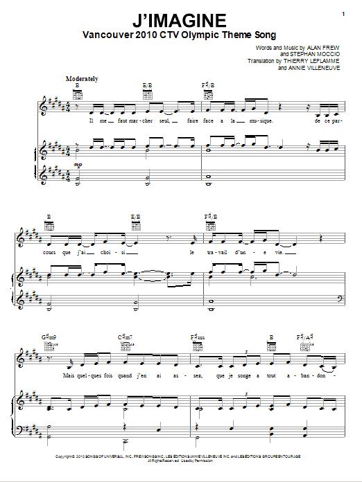 Partition piano J'Imagine de Annie Villeneuve - Piano Voix Guitare (Mélodie Main Droite)
