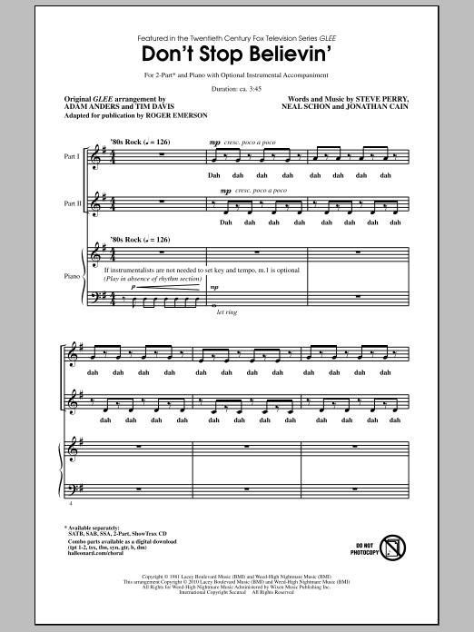 Don't Stop Believin' (2-Part Choir)