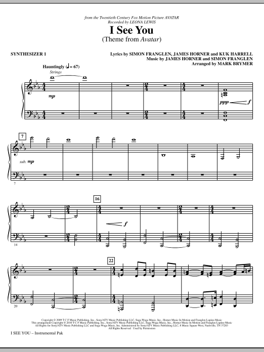 I See You (Theme from Avatar) (complete set of parts) sheet music for orchestra/band (Rhythm) by Mark Brymer, James Horner, Leona Lewis and Simon Franglen. Score Image Preview.