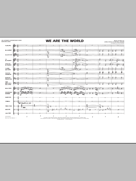 We Are The World - Conductor Score (Full Score) (Marching Band)