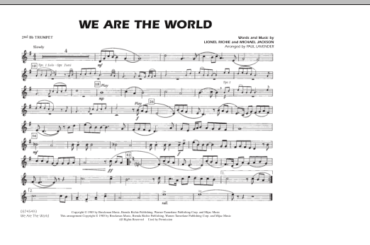 We Are The World 3rd Bb Trumpet By Michael Jackson Lionel Richie