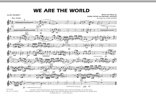 We Are The World - 2nd Bb Trumpet (Marching Band)