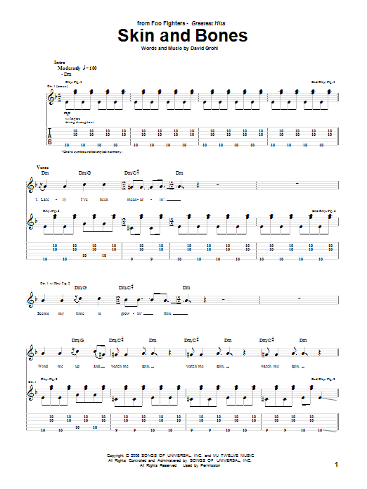 Skin And Bones (Guitar Tab)