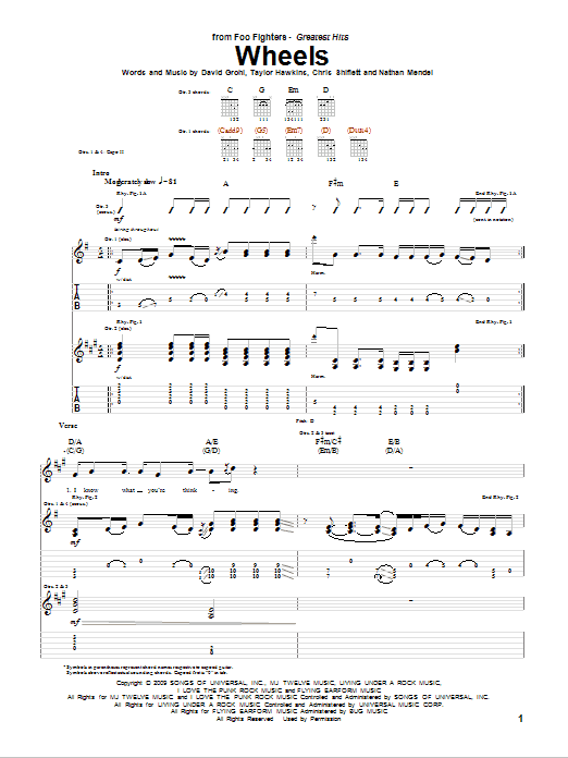Tablature guitare Wheels de Foo Fighters - Tablature Guitare
