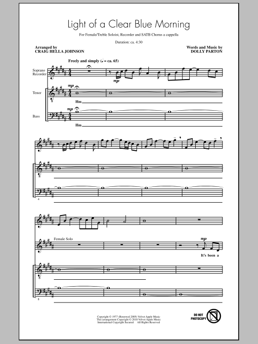 Light Of A Clear Blue Morning Sheet Music