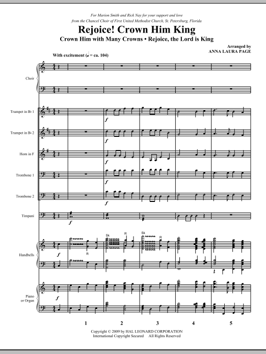 Rejoice! Crown Him King (COMPLETE) sheet music for orchestra/band (Special) by Anna Laura Page. Score Image Preview.