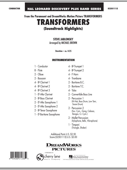 Transformers Soundtrack Highlights (COMPLETE) sheet music for concert band by Michael Brown and Steve Jablonsky. Score Image Preview.