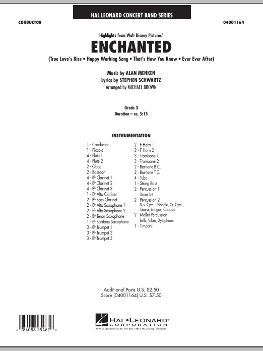 Highlights from Enchanted (COMPLETE) sheet music for concert band by Michael Brown, Alan Menken and Stephen Schwartz. Score Image Preview.
