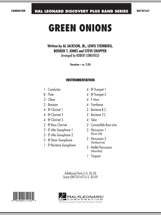 Green Onions (COMPLETE) sheet music for concert band by Robert Longfield, Al Jackson, Jr., Booker T. Jones, Lewis Steinberg and Steve Cropper. Score Image Preview.