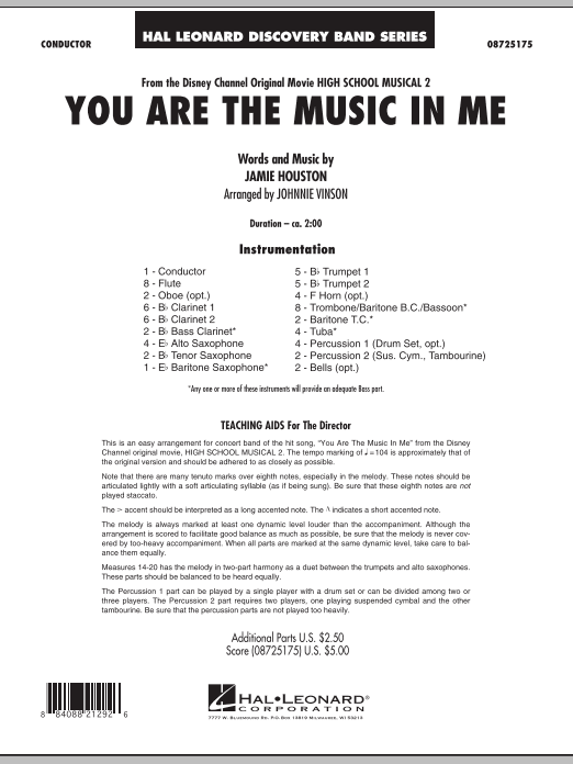 You Are The Music In Me (from High School Musical 2) (COMPLETE) sheet music for concert band by Jamie Houston and Johnnie Vinson. Score Image Preview.