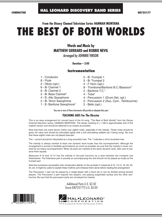 The Best Of Both Worlds (Theme from Hannah Montana) (COMPLETE) sheet music for concert band by Johnnie Vinson, Hannah Montana, Matthew Gerrard and Robbie Nevil. Score Image Preview.