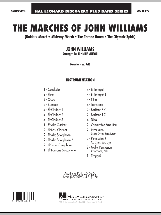 The Marches of John Williams (COMPLETE) sheet music for concert band by Johnnie Vinson and John Williams. Score Image Preview.