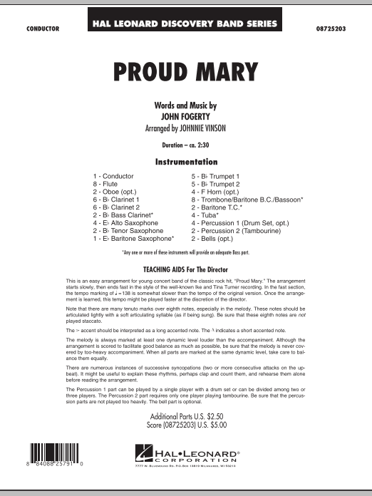 Proud Mary (COMPLETE) sheet music for concert band by Johnnie Vinson, Creedence Clearwater Revival and John Fogerty. Score Image Preview.